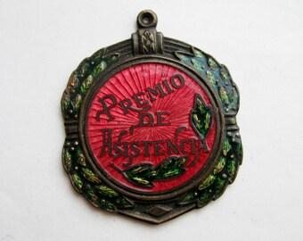 Vintage Premio de Asistencia Brass Enamel Attendance Award Pendant