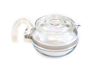 Pyrex 8446-B 6 Cup Flameware Glass Coffee Tea Pot