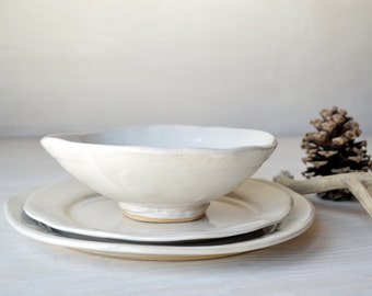 Pottery Dinnerware Set, White Stoneware Dinnerware, 1 Piece Setting, READY TO SHIP