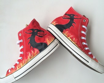 Dragon and Flames Custom Converse
