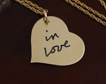 Gold Handwriting Necklace - Gold Filled Heart -  Handwriting Jewelry