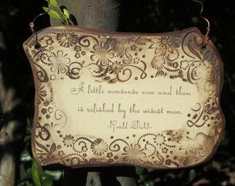 Roald Dahl Inspirational Quote Ceramic Plaque