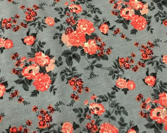 Coral Peach Floral on Slate Gray Cotton Jersey Blend Knit Fabric