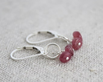 pink tourmaline dangle earrings | sterling silver & gemstone | october birthstones | READY TO SHIP