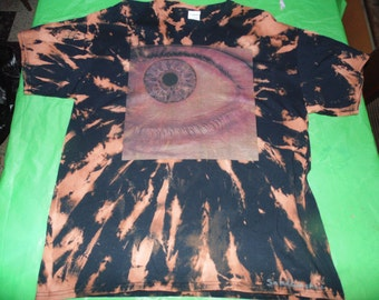 Tie dye Bleached Eye OOAK hand made Tshirt