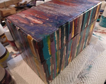 Mixed Media hand painted dripped art jewelry box