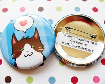 Brown & White Cat Pin for Charity