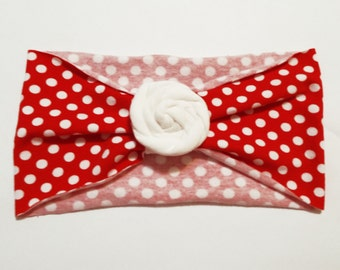 Polka Dot Red and White Extra Wide Jersey Knit Rose Flower Headband Headwrap - Pick Your Flower Color