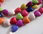 Ceramic Heart Beads, Color Mix, 12mm Puffy, 1 Strand 15 Inches, 36 Beads in Pink, Red, Blue, White Green, Yellow, and Orange, GB508