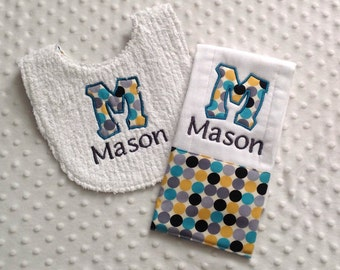 Baby Boy Personalized  Gift Set  - Bib and Burp Cloth, Teal and Gray Dots