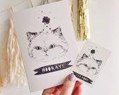 BRAND NEW Hooray party cat card with matching temporary tattoo