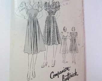 "Antique 1940's Butterick Dress Pattern #8306 - size 30"" Bust"
