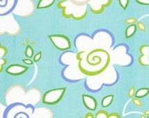 SALE - Fabric 1/2 yard - Kumari Garden Sachi Blue by Dena Designs floral flowers green white elegant designer quilt