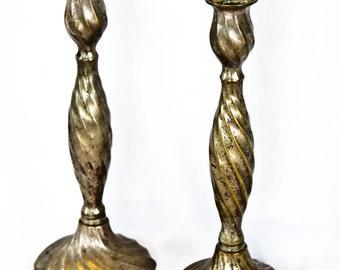 SALE Vintage Tall Brass spiral candlesticks - antique candlesticks wedding centerpiece hollywood gold candleholders wedding decor