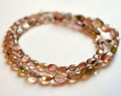 Tiny Watermelon Tourmaline Ovals, Smooth Gemstone Beads, AAA, Pink and Green, 4 - 8mm, 8 inch strand