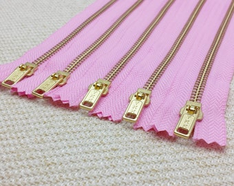 8inch - CandyFloss Pink Metal Zipper - Gold Teeth -  5pcs