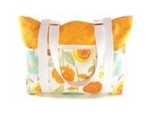 Handmade Large Cotton Tote, Lots of Pockets, Handmade Orange Cotton Tote Bag, TOT08593