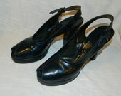 De Liso Deb vintage shoes heels sling backs  peep toe  size 7 Narrow