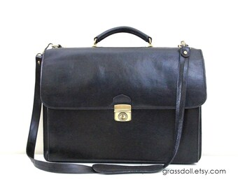 Vintage Black Color Leather Briefcase by Sage , Genuine Leather Made in Canada