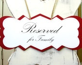 Reserved for Wedding Pew Sign in SCRIPT, Rustic Chic Elegant Ceremony Seating, Custom Color