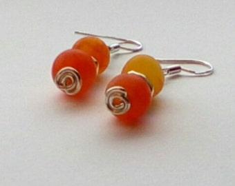 Orange Dragon Vein Agare Earrings