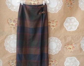 Lauren Ralph Lauren Petite Plaid Wool Wrap Skirt