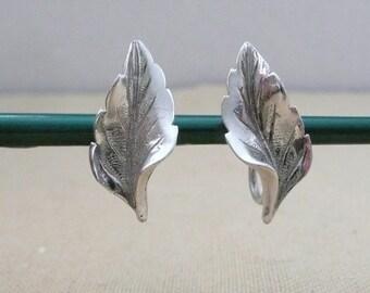 Sterling Silver Screwback Leaf Earrings - Non-Pierced Silver Leaf Earrings - Nature Inspired Jewelry