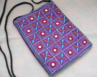Purple Embroidered and Mirrored Zippered Pouch - Banjara - Hippie Purse - Boho Bag