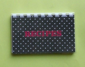 "Handmade ""Black Polka dots"" Blank Recipe Book"
