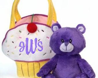 Personalized Girls Yellow Plush Cupcake Purse w/ Bear Handbag Bag Free Ship
