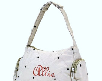 Personalized Girls Purse Beige Diamond Pattern with Brown Embroidered Dots Handbag Bag
