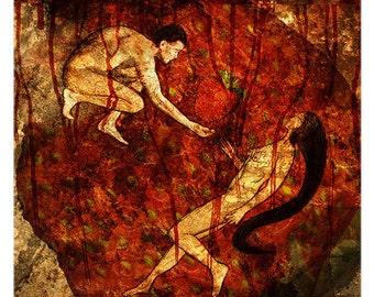 A3 giclee print -  Adam, Eve and The Forbidden Strawberry (modern Christian wall art)