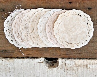 "IVORY VARIETY | 5""  Shabby Rustic Hand Dyed Paper Lace Doilies - Wedding Decor, DIY, Party Supplies, Scrapbooking"
