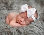 Baby headband, infant headband, bow headband, PICK COLOR, newborn headband, baptism headband, large bow, bow headband, baby hairband