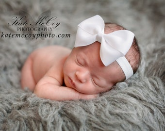 "Baby headband, CHOOSE COLOR, 4"" bow, infant headband, bow headband, boutique baby headband, headband, large bow, bow headband, baby hairband"