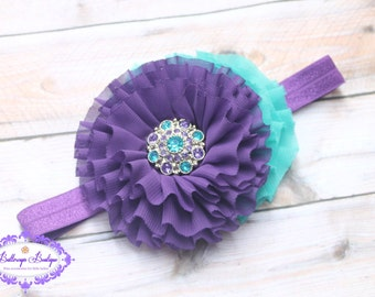 Turquoise baby headband, turquoise purple baby headband, OTT baby headband, vintage headband, headband, toddler headband, baby hairband