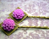 Dahlia Floral Bobby Pin Set - Lilac Purple Mums on Diamond Filigree Antiqued Brass Setting
