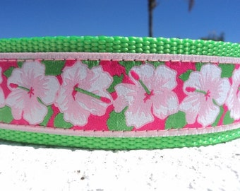"""Sale Large Dog Collar Hibiscus 1.5"""" width Quick Release buckle adjustable - Martingale style is cost upgrade - to XL size"""