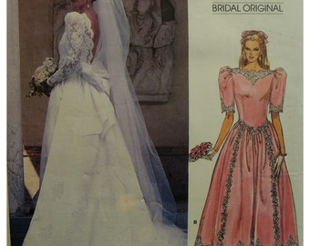 Backless Bride Gown Pattern, Fitted Bodice, Train, V-Shaped Waist, Full Skirt, Crinoline, Vogue Bridal Original No. 1983 UNCUT Size 10