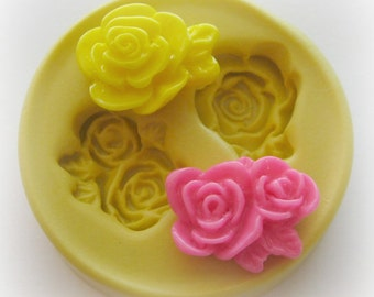 On SALE Cabochon Flower Mold Rose Polymer Clay Flowers Cabochon Mold Resin Clay Mould