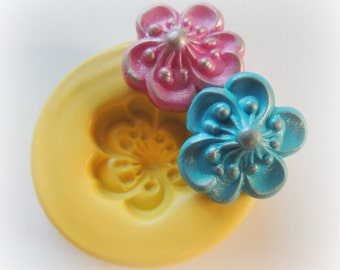 Flower DIY Cabochon Flower Mold Polymer Clay Flowers Cabochon Mold Resin Clay Mould
