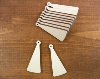 """Wood Earring Tapered Shapes Jewelry Blanks 2"""" H x 7/8"""" W x 1/8"""" Laser Cut Necklace Pendant - 25 Pieces"""