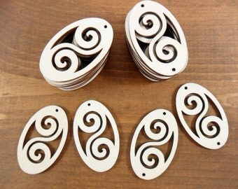 """Wood Dangle Earring Oval Shapes Scroll Work Laser Cut Wood 2"""" x 1 1/4"""" x 1/8"""" / Choose ONE Hole or TWO Hole - 12 Pieces"""