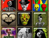 1 Inch Digital Printable Squares POP SKULLS collage sheet for Jewelry Magnets Crafts...Fun Altered Art Skeletons Skulls