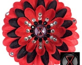 Black Widow Penny Blossom Sparkly Red and Black Flower Barrette
