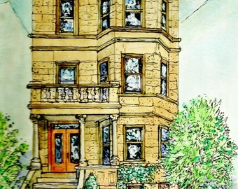 Architectural Portraits,Homes,Offices,Restaurants,Custom Original House Portraits in watercolor,pen and ink illustration