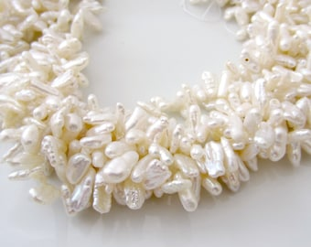 White Keshi Pearls, Ivory Pearls, Cream Keshi Pearls, Top Drilled Keshi Pearls, Keishi Pearls, White Petal Pearls, , 6mm - 7mm, Full Strand