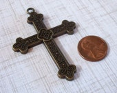 Cross Gold Antiqued Large Pewter Perfect for Pendant