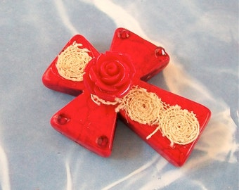 Large Red Stone Cross with Acrylic Rose, Vintage Lace, and Bling