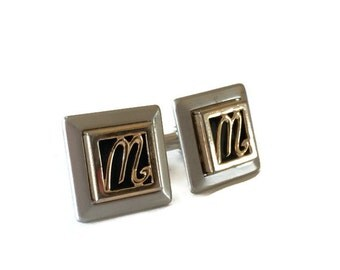"Monogrammed CuffLlinks, Vintage Cufflinks, By Swank, ""M"" or ""W"" Silver and Gold Tone, For Him"